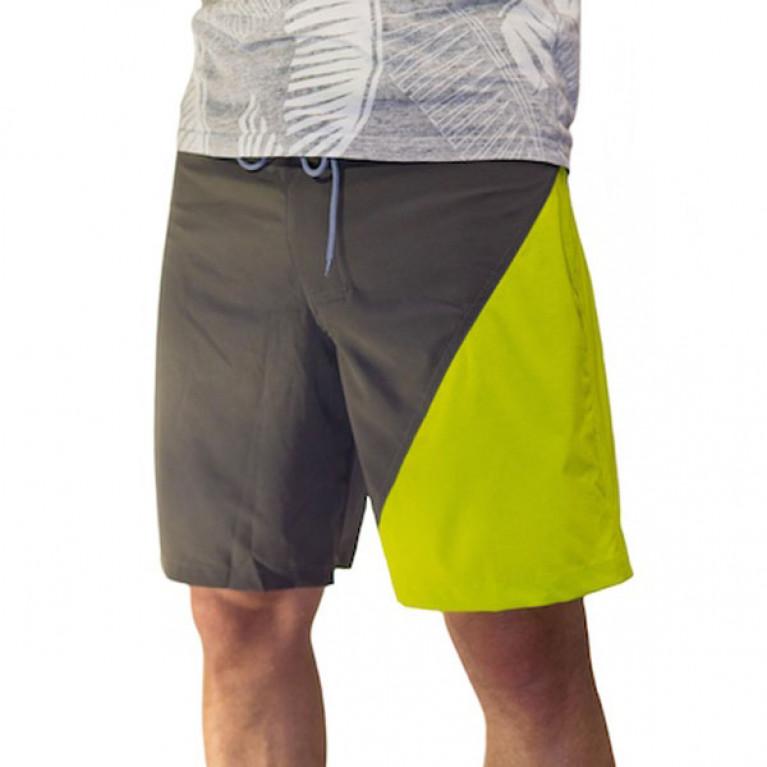 ONE MORE WAVE Бордшорты с цветной вставкой мужские, темно-серый/салатовый треугольник