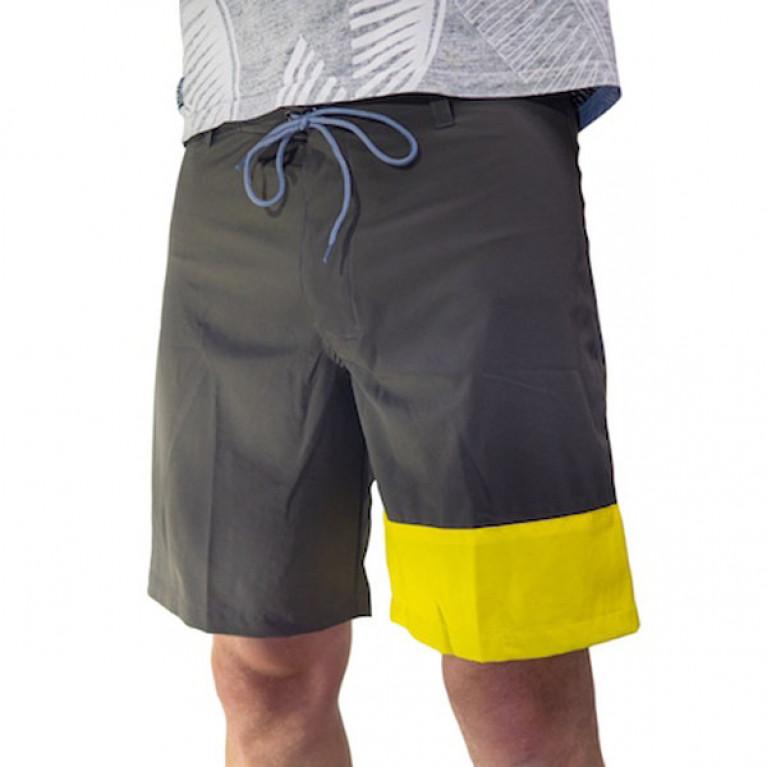 ONE MORE WAVE Бордшорты с цветной вставкой мужские, темно-серый/желтый