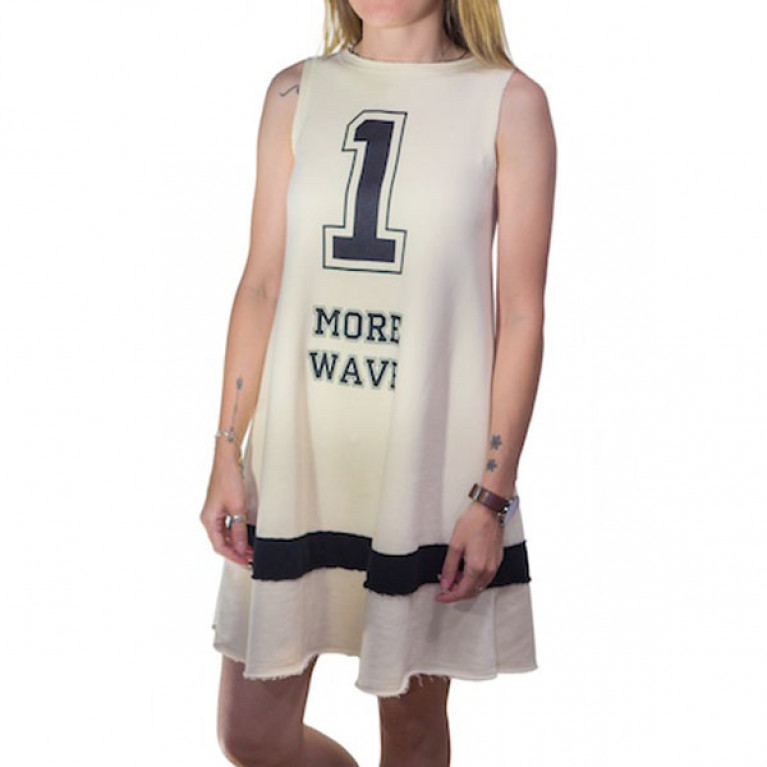 ONE MORE WAVE Платье-трапеция с принтом 1 More Wave, экрю/черный